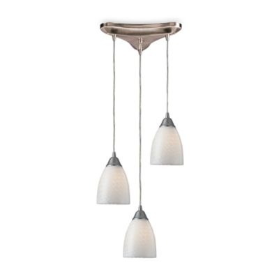 ELK Lighting Pendant Trio with White Swirl Glass and Satin Nickel Finish