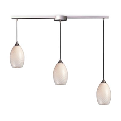 ELK Lighting Mulinello 3-Light Pendant Ceiling Lamp in Satin Nickel/White Swirl Glass