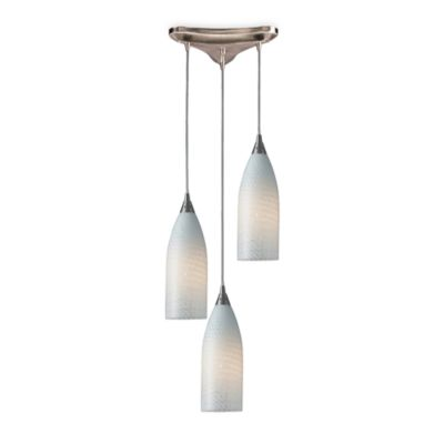ELK Lighting Pendant Trio with White Swirl Glass and Satin Nickel Hardware