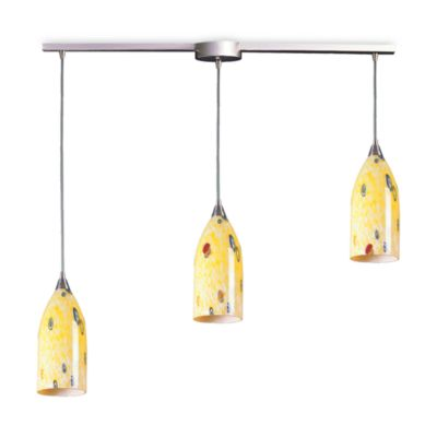 ELK Lighting Verona 3-Light Pendant Ceiling Lamp in Satin Nickel/Yellow Blaze Glass