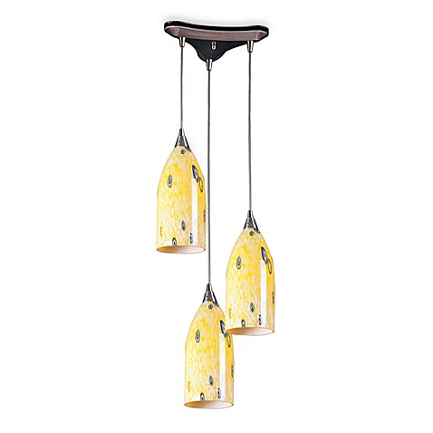 Nickel and Yellow Glass Hanging Pendant Lamp