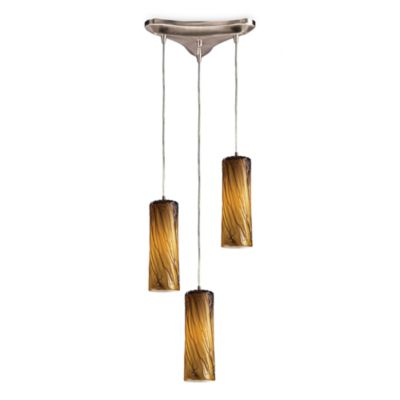 ELK Lighting Maple 3-Light Pendant Ceiling Lamp Satin Nickel/Maple Amber Glass