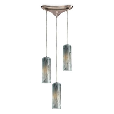 Vertical Pendant Light With Hand-Blown Maple Dusk Glass Globes