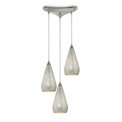Satin Nickel 3-Light Vertical Pendant with Hand Blown Silver Crackle Glass Shades