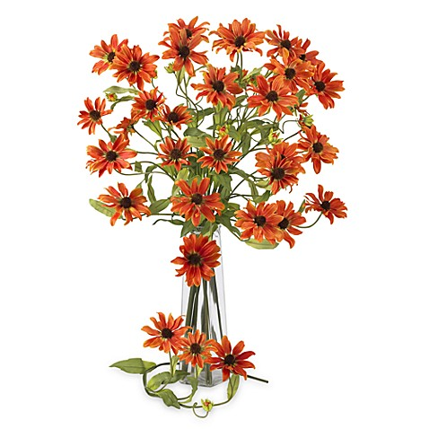 "Nearly Natural Silk 28.5"" Long Orange Cosmos Daisy Stems - Set of 12"