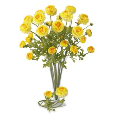 Nearly Natural Silk 23-Inch Yellow Ranunculus Stems (Set of 12)