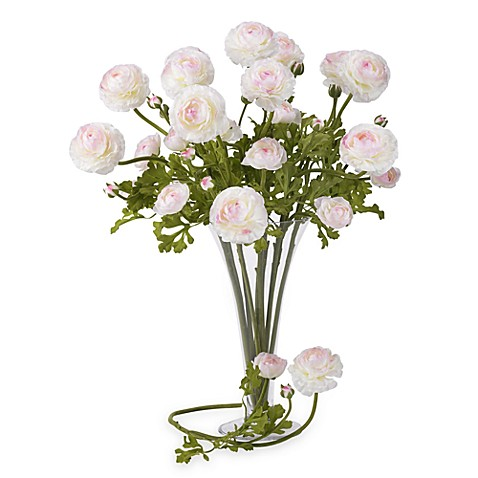 Nearly Natural Silk 23-Inch White Ranunculus Stems (Set of 12)