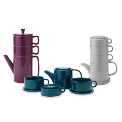 Classic Coffee & Tea Stackable Tea Set for Two - Cool Gray