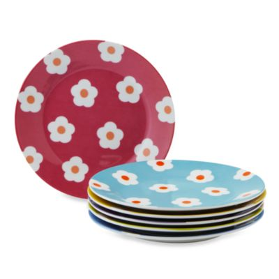 Classic Coffee & Tea Daisy Dessert Plates 6-Piece Set in Assorted Colors
