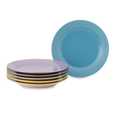 Classic Coffee & Tea Siena Dessert Plates 6-Piece Set in Assorted Colors