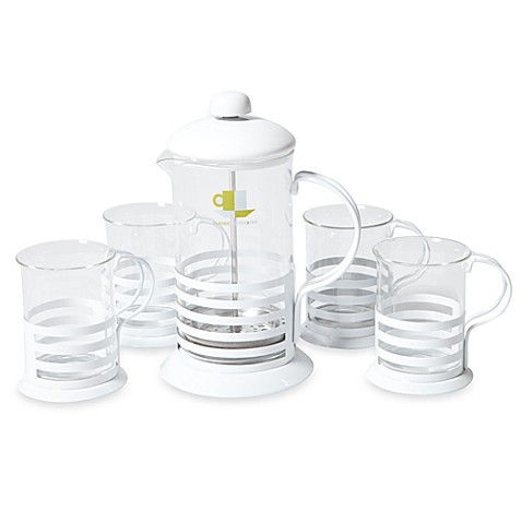 Classic Coffee & Tea Stainless Steel 5-Piece Press Gift Set in White