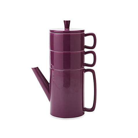 Classic Coffee & Tea Stackable Tea Set for Two in Plum