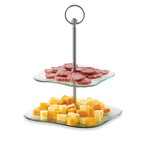 TableCraft® Barcelona Style Stainless Steel Two-Tiered Square Serving Tray