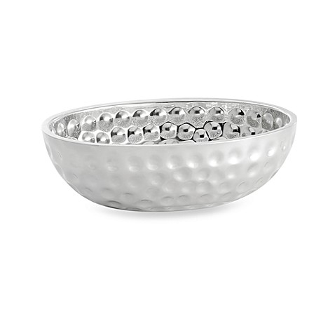 TableCraft® Bali Style Stainless Steel Oval Double Wall Bowl