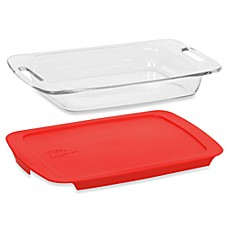 Pyrex® Easy Grab™ 3-Quart Oblong Glass Baking Dish with Red Plastic Cover