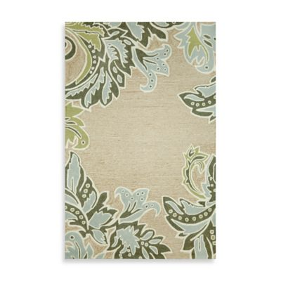 Ornamental Leaf Border 3-Foot 6-Inch x 5-Foot 6-Inch Accent Rug