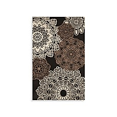 Crochet Black Indoor/Outdoor Rug