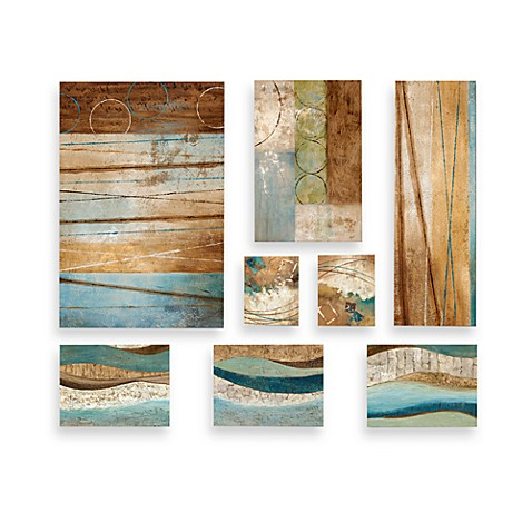 Decorator Solution Blue Contemporary 8-Piece Wall Art Set
