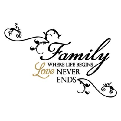 Family in Where Life Begins Love Never Ends Vinyl Wall Decal Set