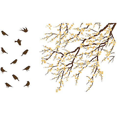 Blossom Tree with Birds Vinyl Wall Decal Set