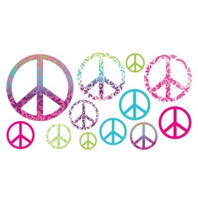 Tie Dye Peace Signs Vinyl Wall Decal Set