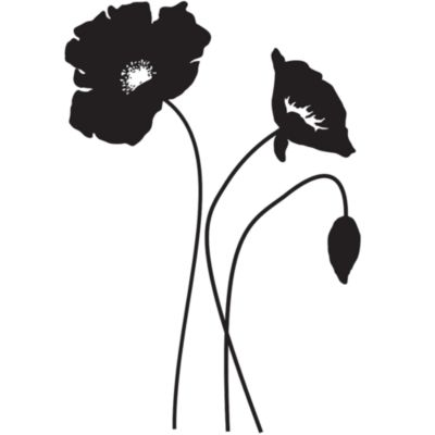 Large Poppy Vinyl Wall Decal Set