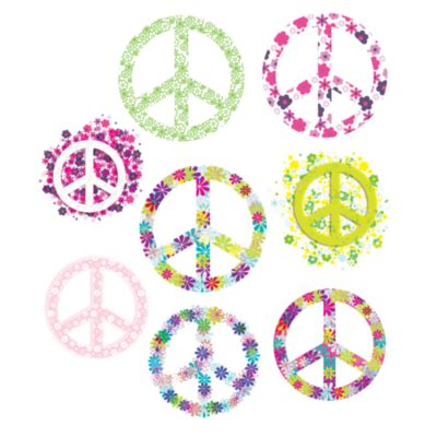 Flowered Peace Signs Vinyl Wall Decal Set