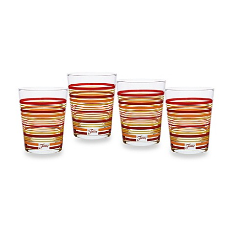 Fiesta® Multi-Color Stripe Tapered 15-Ounce Double Old Fashioned Glasses (Set of 4)