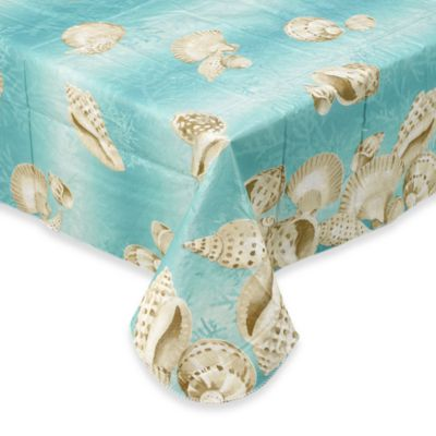 Seashell 70-Inch Elastic Round Vinyl Tablecloth