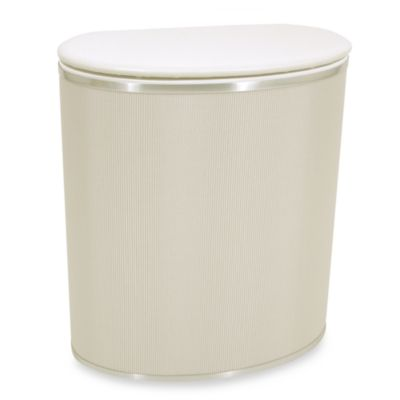Bow Front Hamper in Pearl White