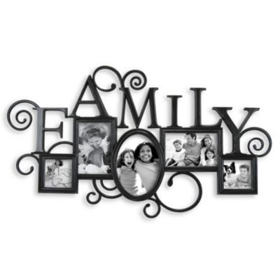 Antique Black Scroll Family 5-Opening Collage Frame