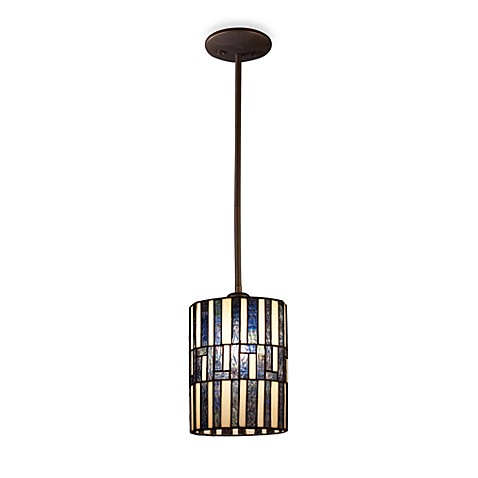 Landmark Lighting Ocean Mirage 1-Light Mini Pendant Light with Tiffany Glass