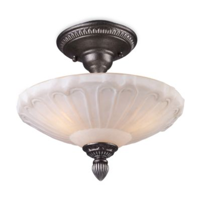 Elk Lighting Restoration 3-Light Semi-Flush Ceiling Fixture in Dark Silver