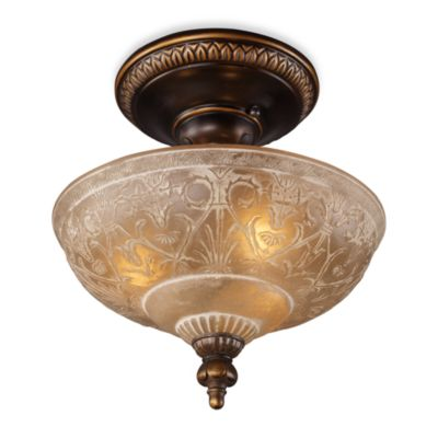 Landmark Lighting Restoration 13-Inch 3-Light Semi-Flush Fixture in Golden Bronze