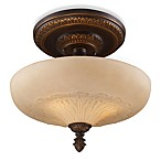 ELK Lighting Restoration 15-Inch 3-Light Semi-Flush Fixture in Antique Golden Bronze