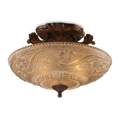 Elk Lighting Restoration 11-Inch 3-Light Semi-Flush Fixture in Antique Golden Bronze