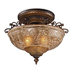 Elk Lighting Restoration 3-Light Semi-Flush Fixture in Antique Golden Bronze