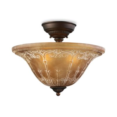 Elk Lighting Restoration 3-Light Semi-Flush Fixture in Aged Bronze