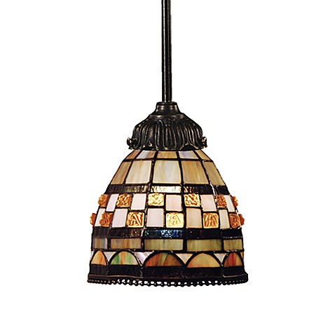 ELK Lighting Tiffany Bronze Mix-N-Match 1-Light Pendant Lamp in Jewel Stone