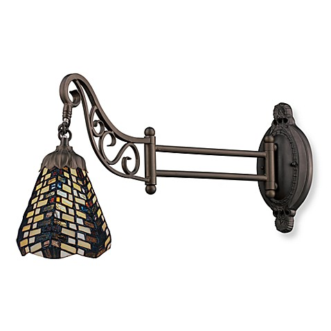 ELK Lighting 1-Light Mix-N-Match Swing Arm Wall Lamp in Basketweave