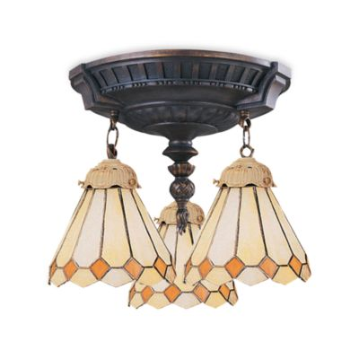 ELK Lighting Mix-N-Match Collection 3-Light Semi-Flush Pendant in Amber Diamond