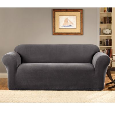 Sure Fit® Stretch Metro Grey One Piece Sofa Slipcover