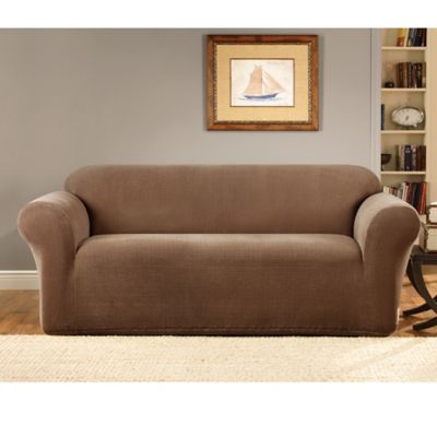 Sure Fit® Stretch Metro Brown One Piece Loveseat Slipcover