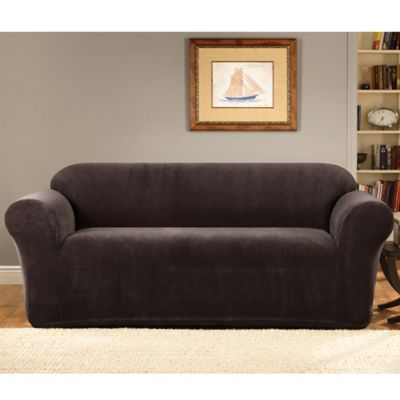 Sure Fit® Stretch Metro Espresso One Piece Loveseat Slipcover