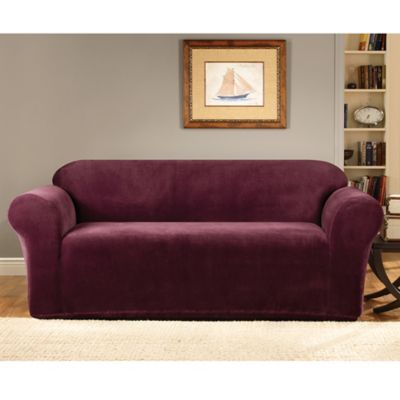 Sure Fit® Stretch Metro Burgundy One Piece Sofa Slipcover