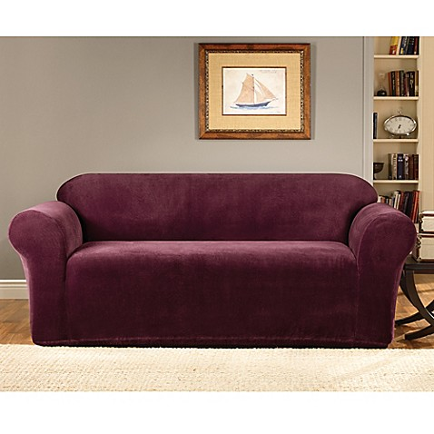 Sure Fit® Stretch Metro Sofa Slipcover in Burgundy