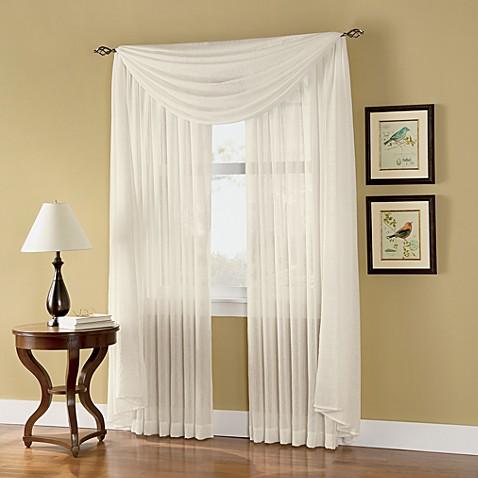 Caprice sheer 84 inch rod pocket window curtain panel in ivory www