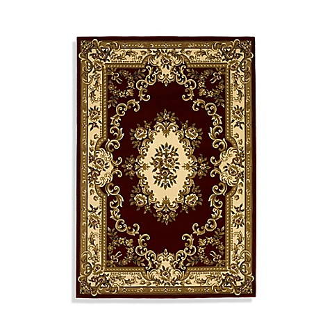 KAS Corinthian Red/Ivory Aubusson Area Rug - 7-Foot 7-Inch Round