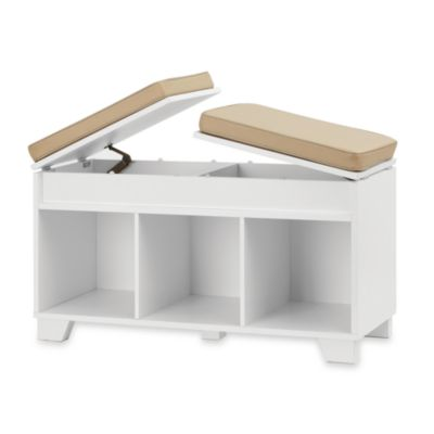 Real Simple® 3-Cube Split-Top Bench Storage Unit in White