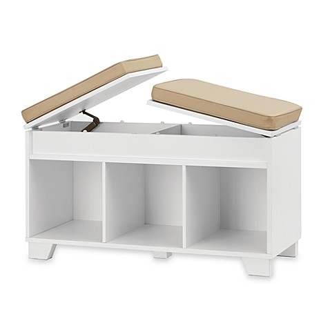 Real Simple 3 Cube Split Top Bench Storage Unit In White Bed Bath Beyond